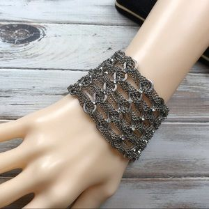 Jewelry - Wide chain mail rhinestone bracelet in silver tone